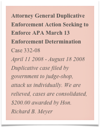 Attorney General Duplicative Enforcement Action Seeking to Enforce APA March 13 Enforcement Determination